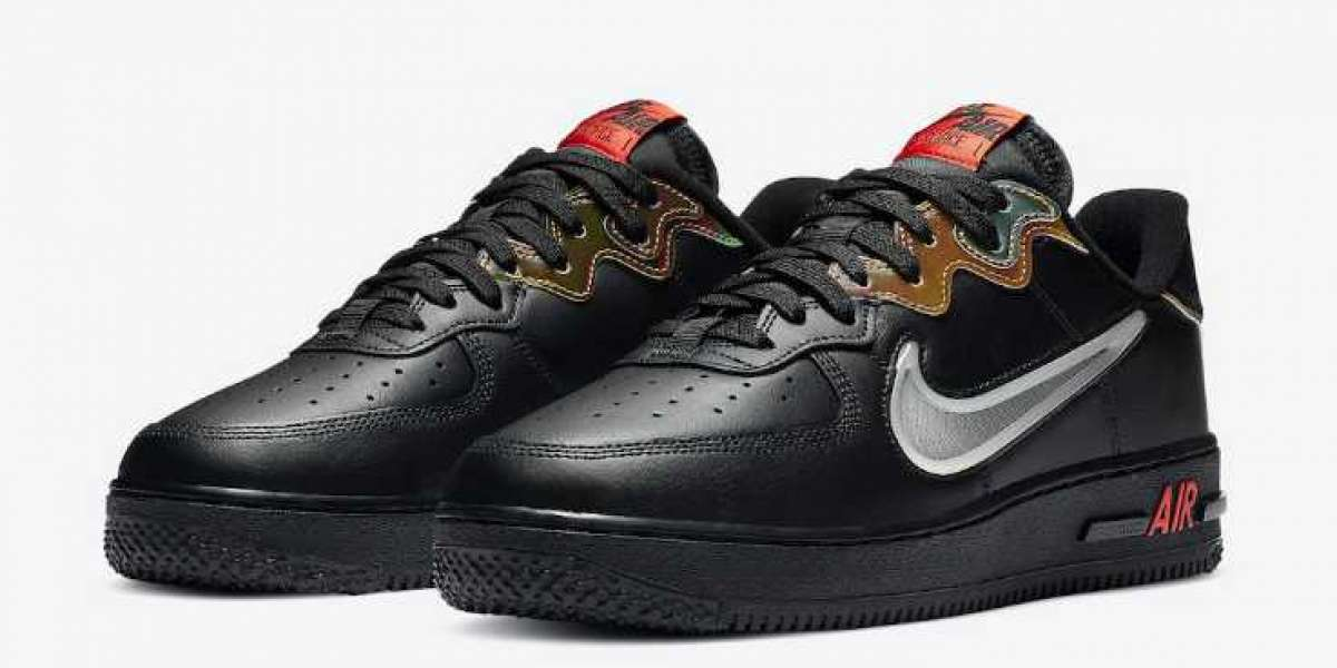 Sexy Nike Air Force 1 React Black Glow Habanero Red On Sale