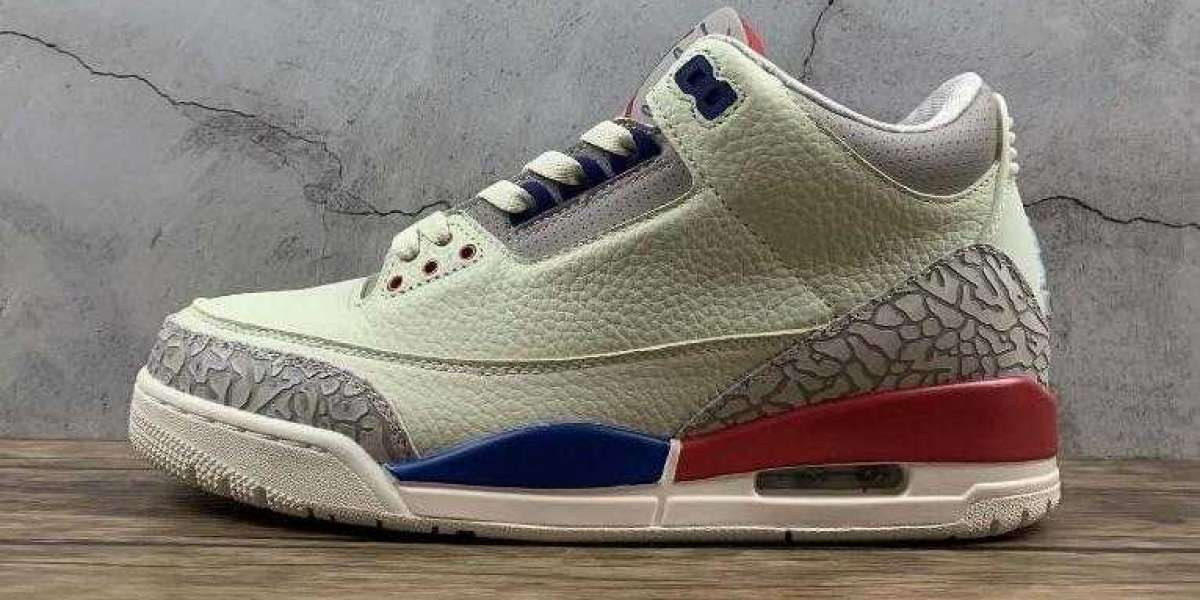 Air Jordan 3 Retro Milky White Grey Blue Red is Available this Week
